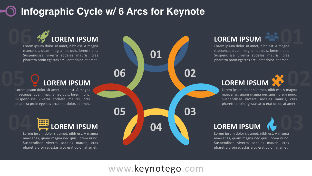 Cycle Diagram 6 Arcs Keynote Template - Dark Background