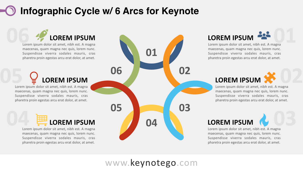 Cycle Diagram 6 Arcs Keynote Template