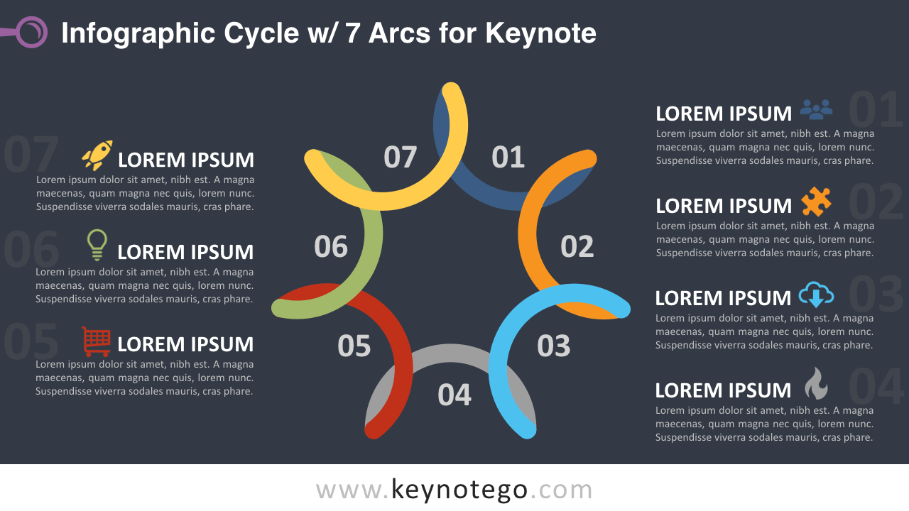 Cycle Diagram 7 Arcs Keynote Template - Dark Background