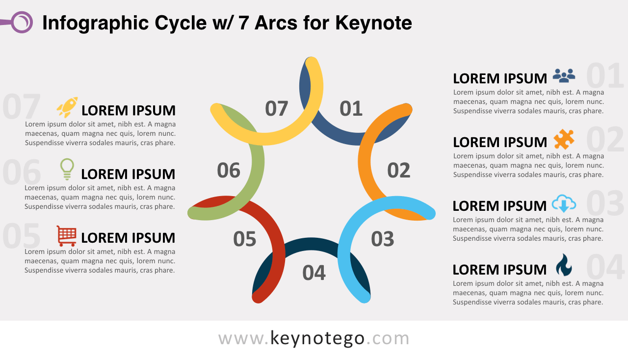 Cycle Diagram 7 Arcs Keynote Template