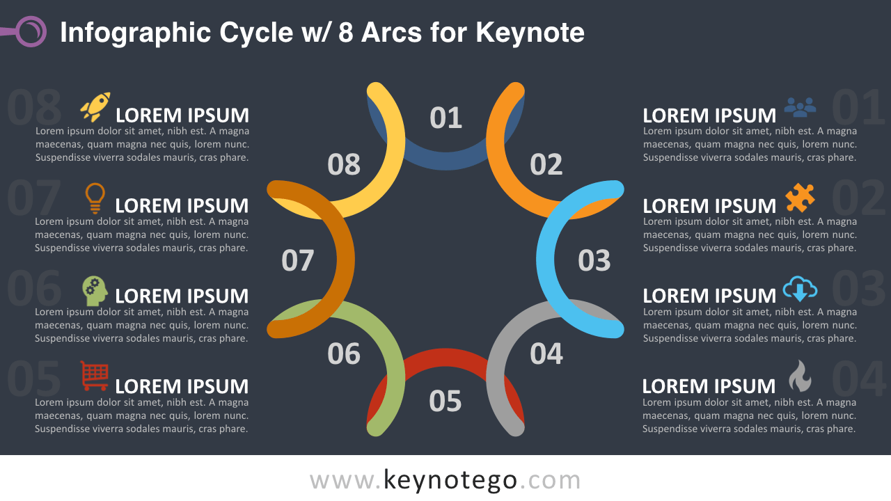 Cycle Diagram 8 Arcs Keynote Template - Dark Background