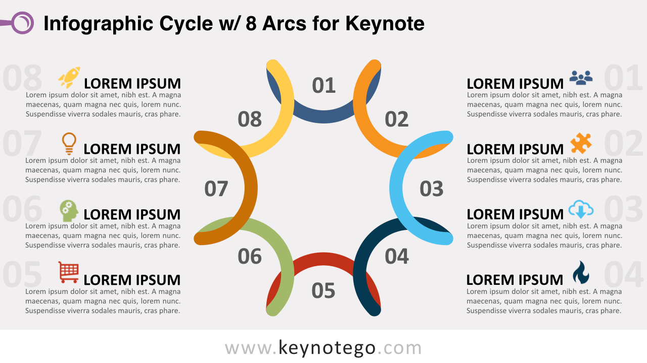 Cycle Diagram 8 Arcs Keynote Template