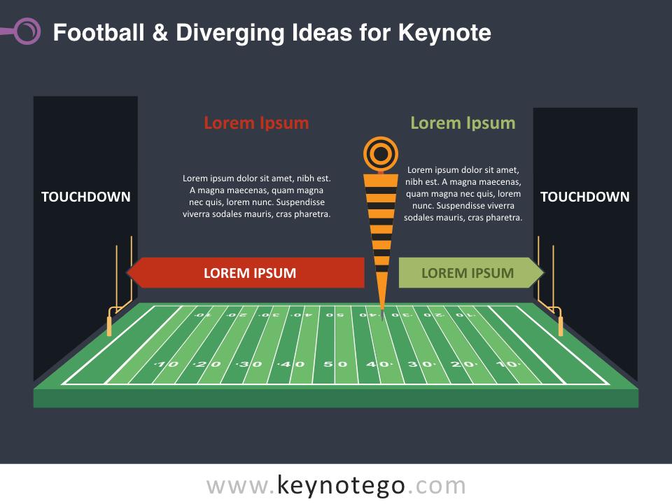 Football Diverging Ideas for Keynote - Dark Background