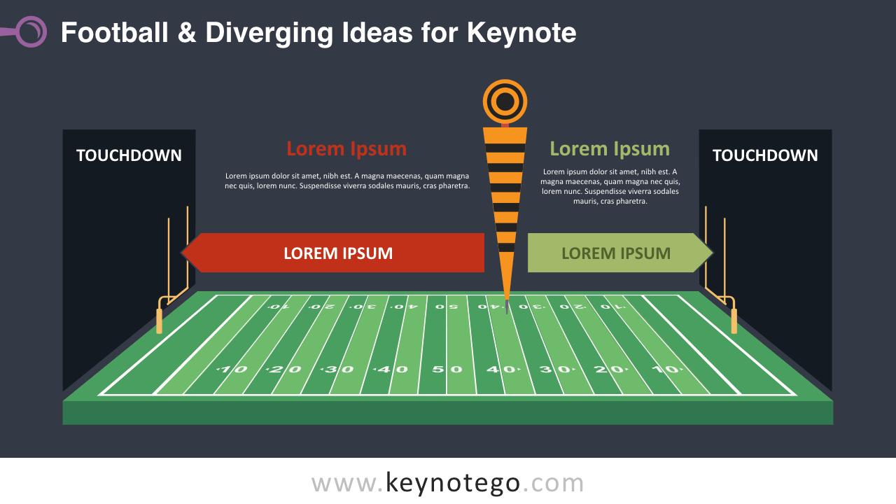 Football Diverging Ideas Keynote Template - Dark Background