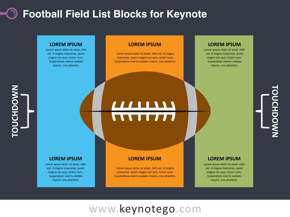 Football Field List Blocks for Keynote - Dark Background