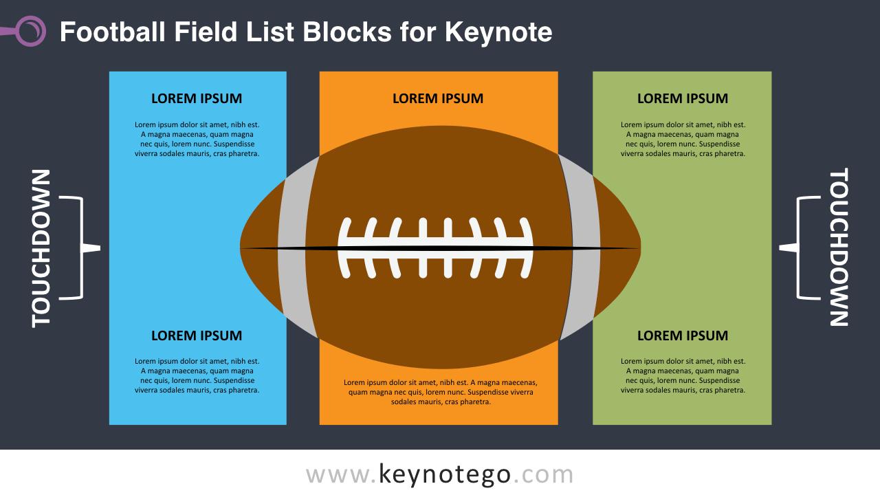 Football Field List Keynote Template - Dark Background