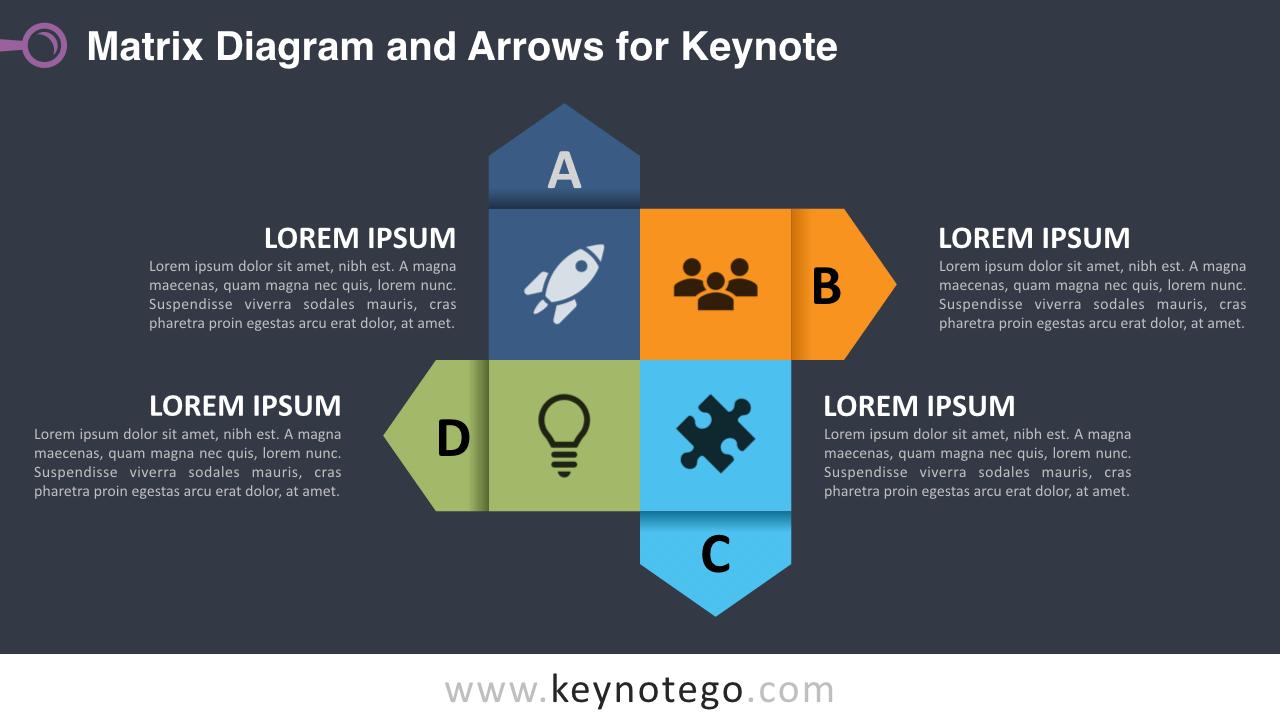 Free Matrix Diagram Arrows Keynote Template - Dark Background
