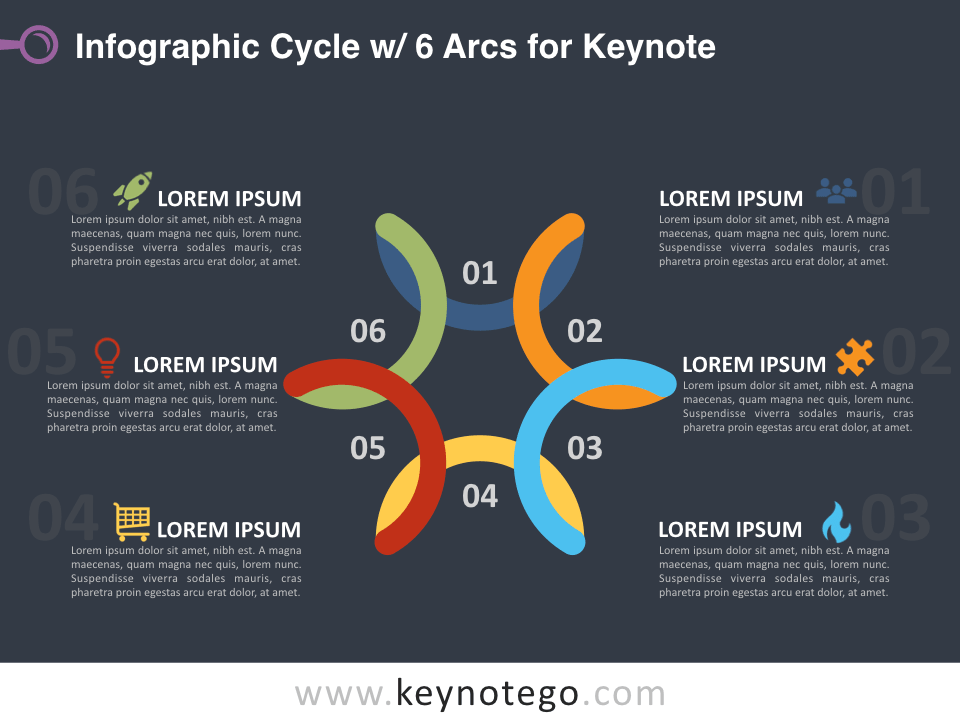 Infographic Cycle 6 Arcs for Keynote - Dark Background