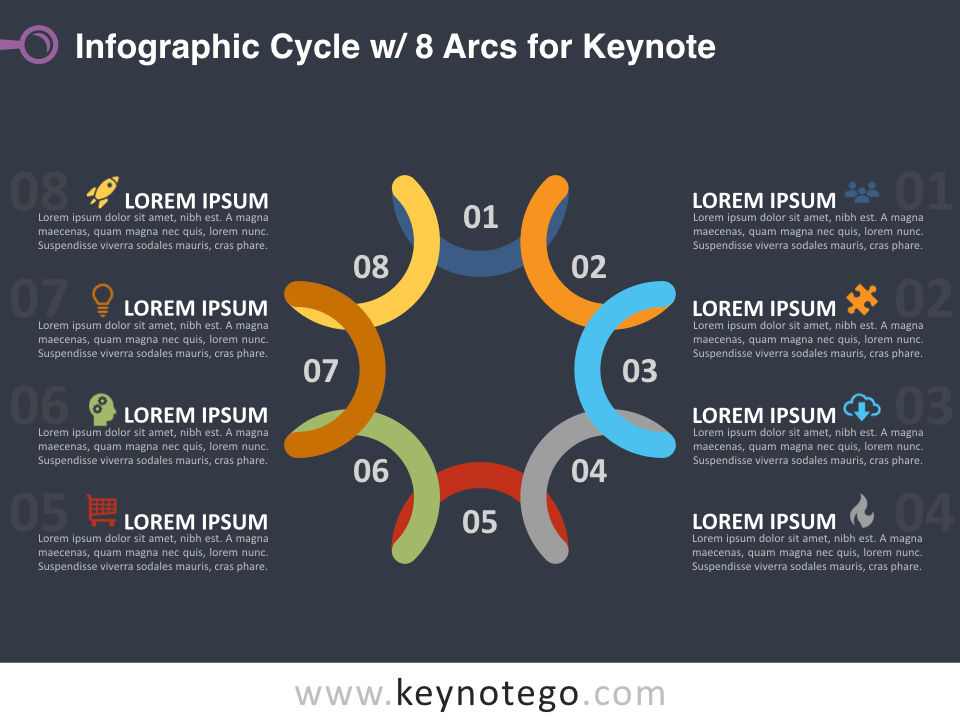 Infographic Cycle 8 Arcs for Keynote - Dark Background