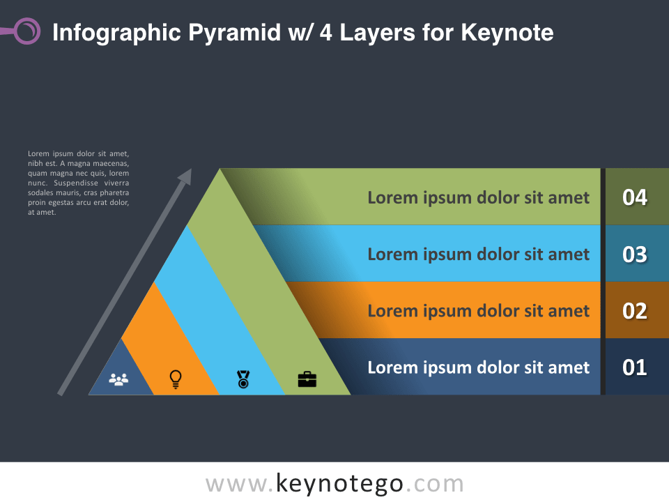 Infographic Pyramid 4 Layers for Keynote - Dark Background