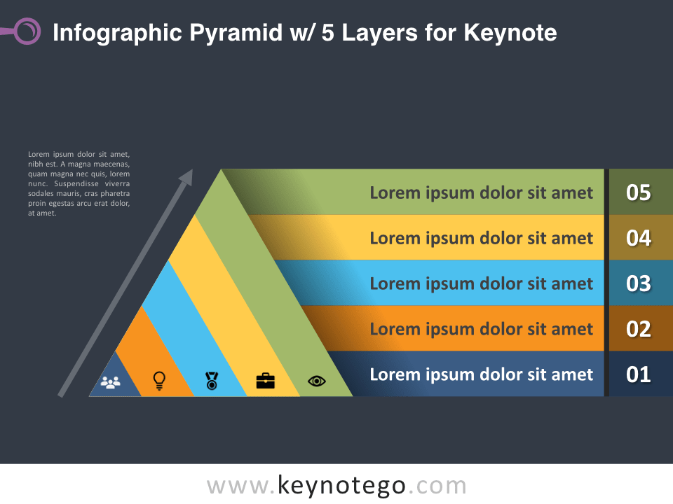 Infographic Pyramid 5 Layers for Keynote - Dark Background