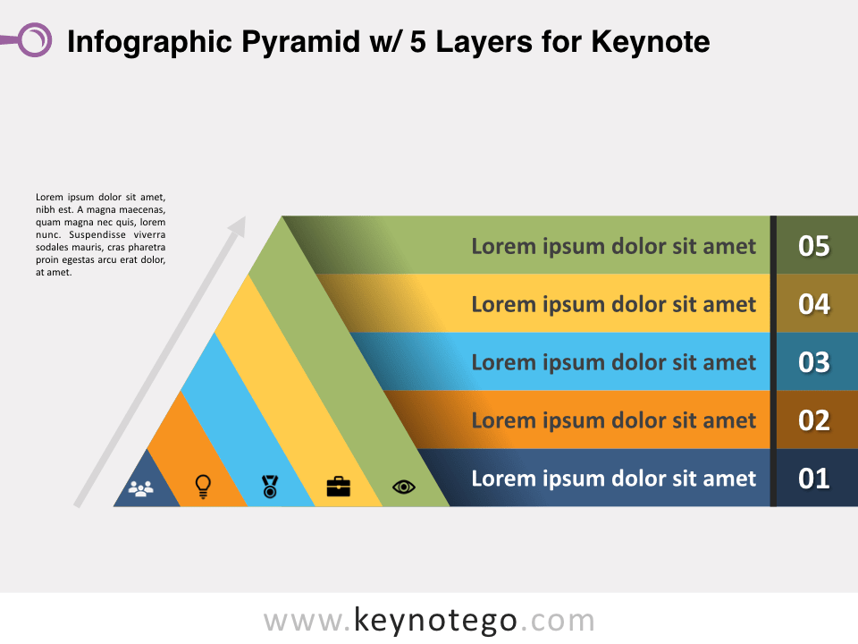 Infographic Pyramid 5 Layers for Keynote