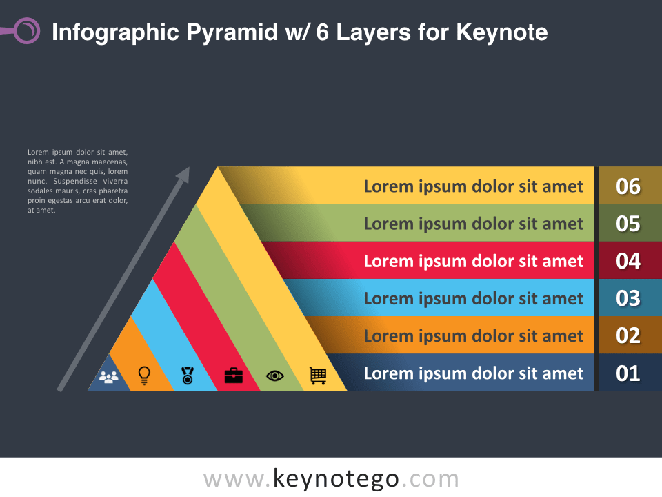Infographic Pyramid 6 Layers for Keynote - Dark Background