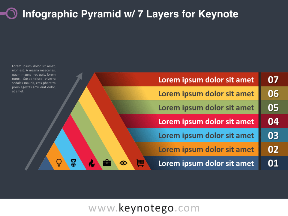 Infographic Pyramid 7 Layers for Keynote - Dark Background