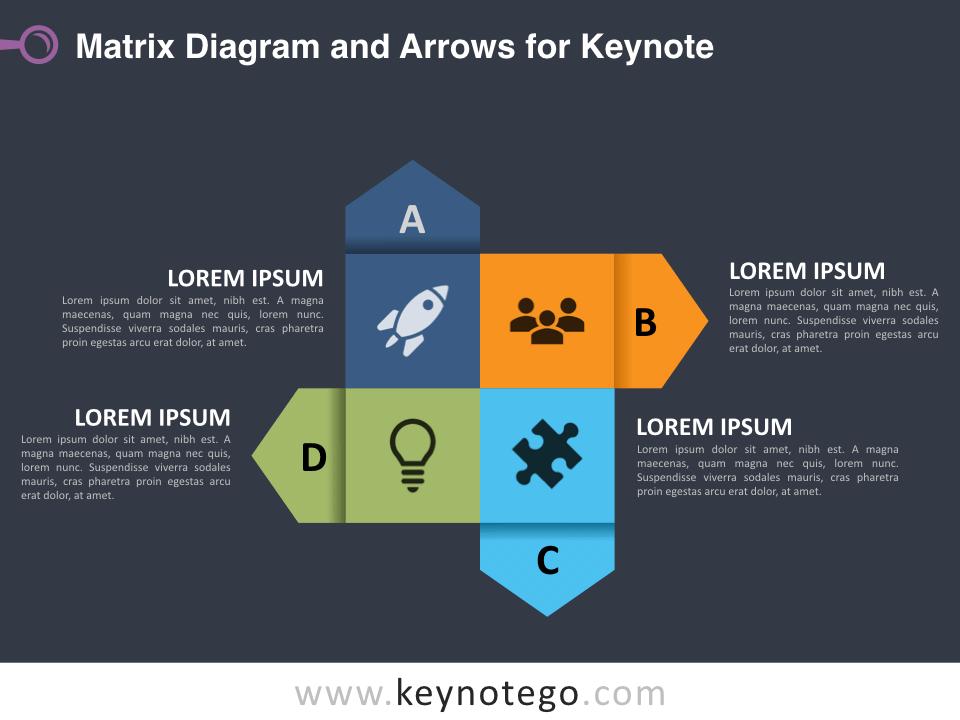 Matrix Diagram Arrows for Keynote - Dark Background