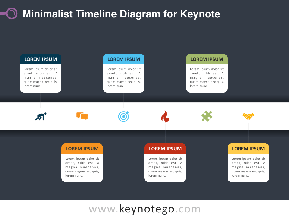 Minimalist Timeline Diagram for Keynote - Dark Background