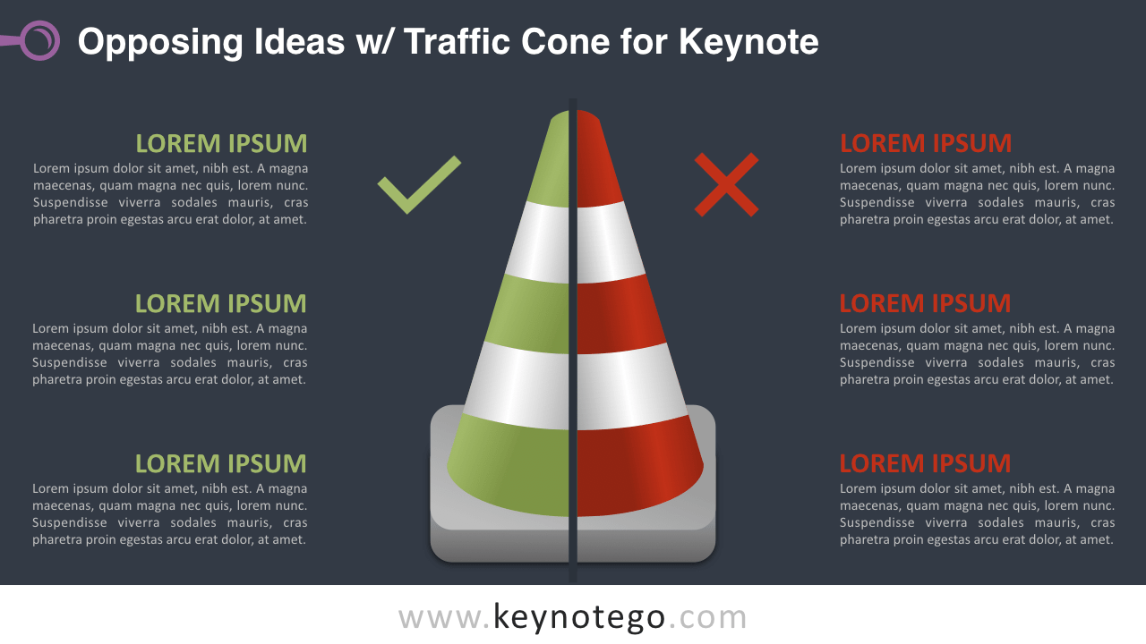 Opposing Ideas Traffic Cone Keynote Template - Dark Background