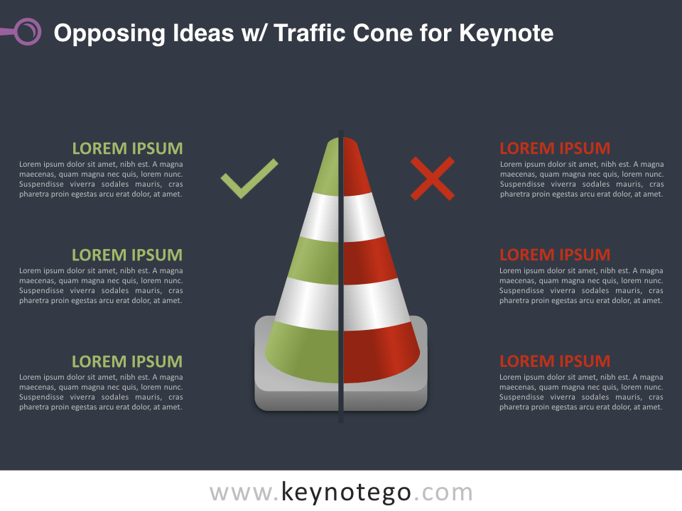Opposing Ideas Traffic Cone for Keynote - Dark Background