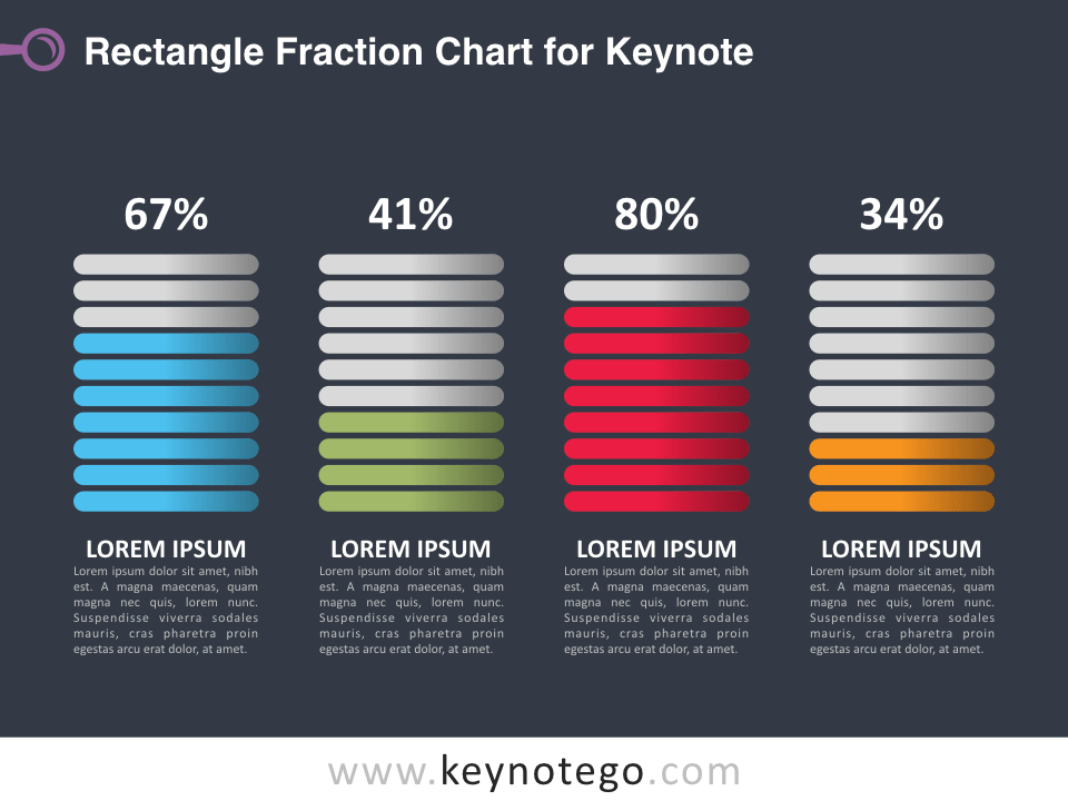Rectangle Fraction Chart for Keynote - Dark Background