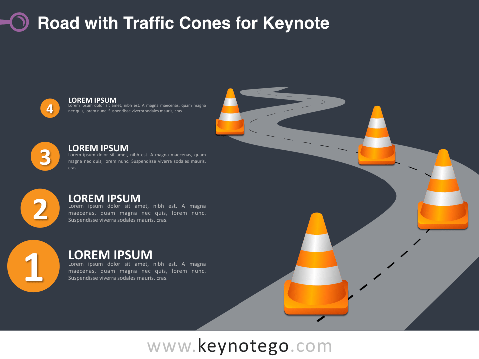 Road Traffic Cones for Keynote - Dark Background