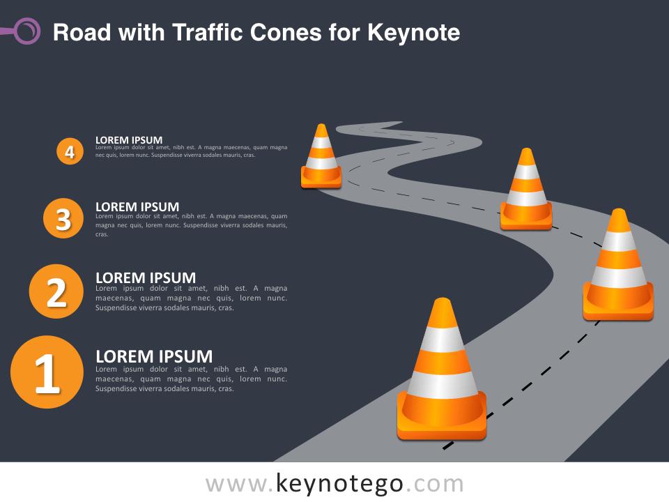 Road Traffic Cones for Keynote - Dark Background