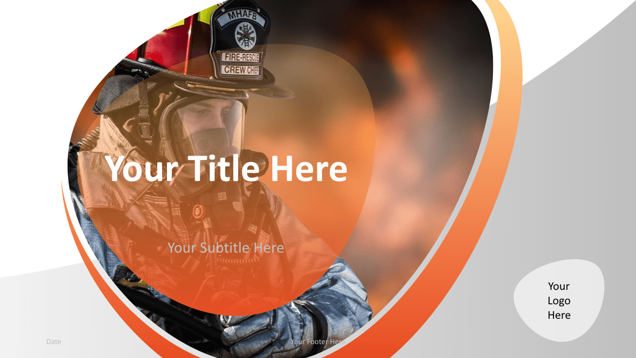 Slide 1 Firefighter Keynote Template Cover