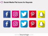 Social Media Flat Icons for Keynote