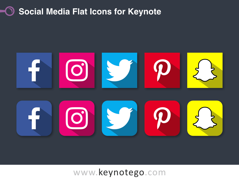 Social Media Flat Icons for Keynote - Dark Background