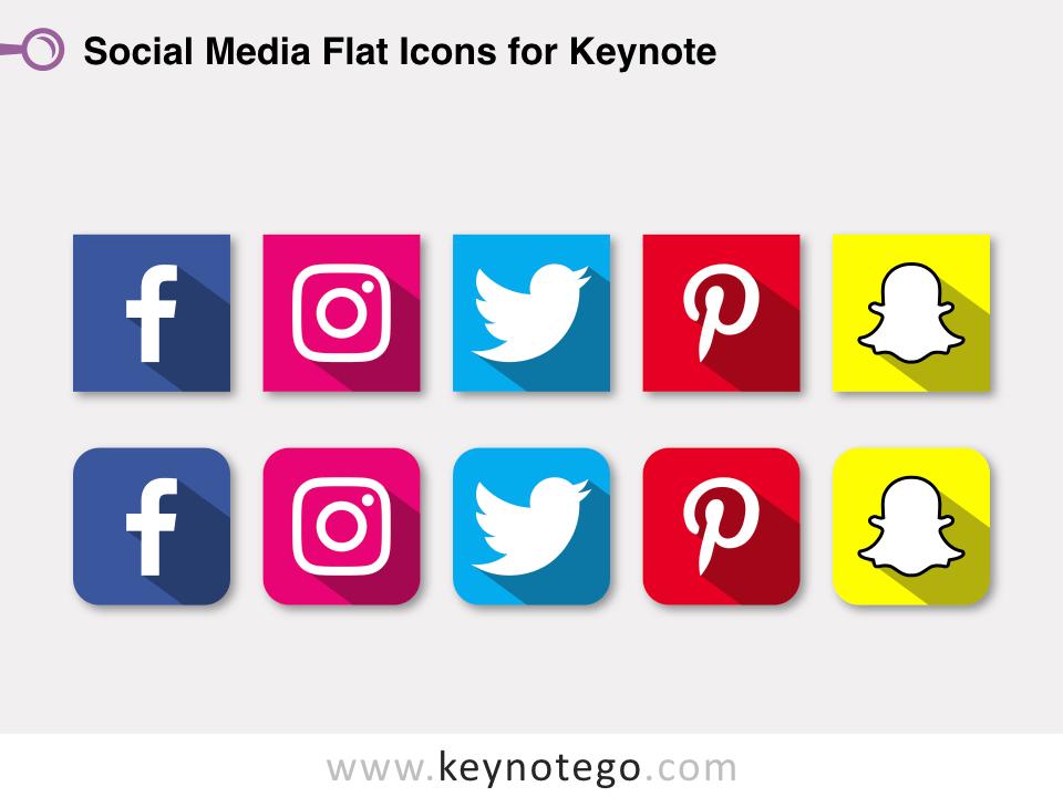 Social Media Flat Icons for Keynote