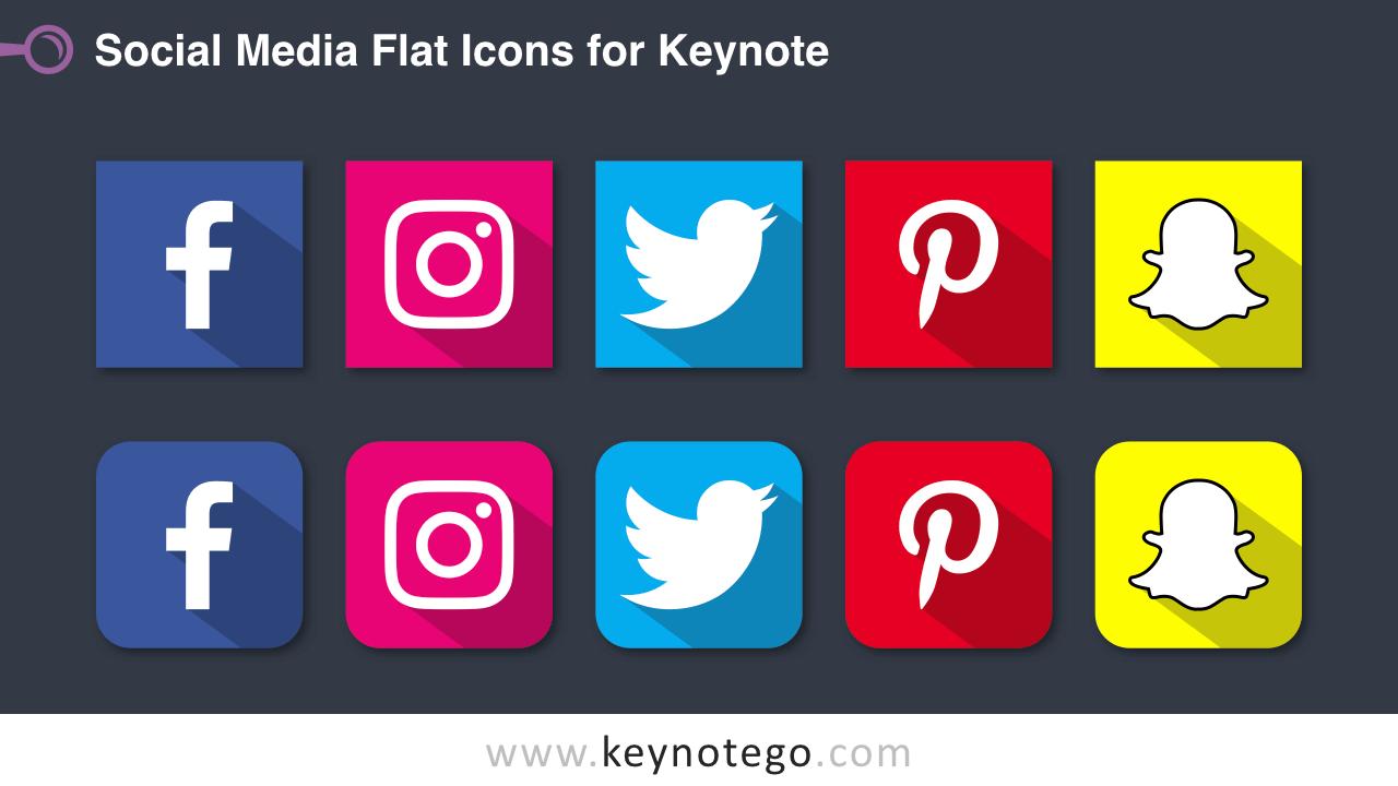 Social Media Icons Keynote Template - Dark Background