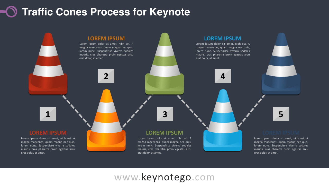 Traffic Cones Process Diagram Keynote Template - Dark Background