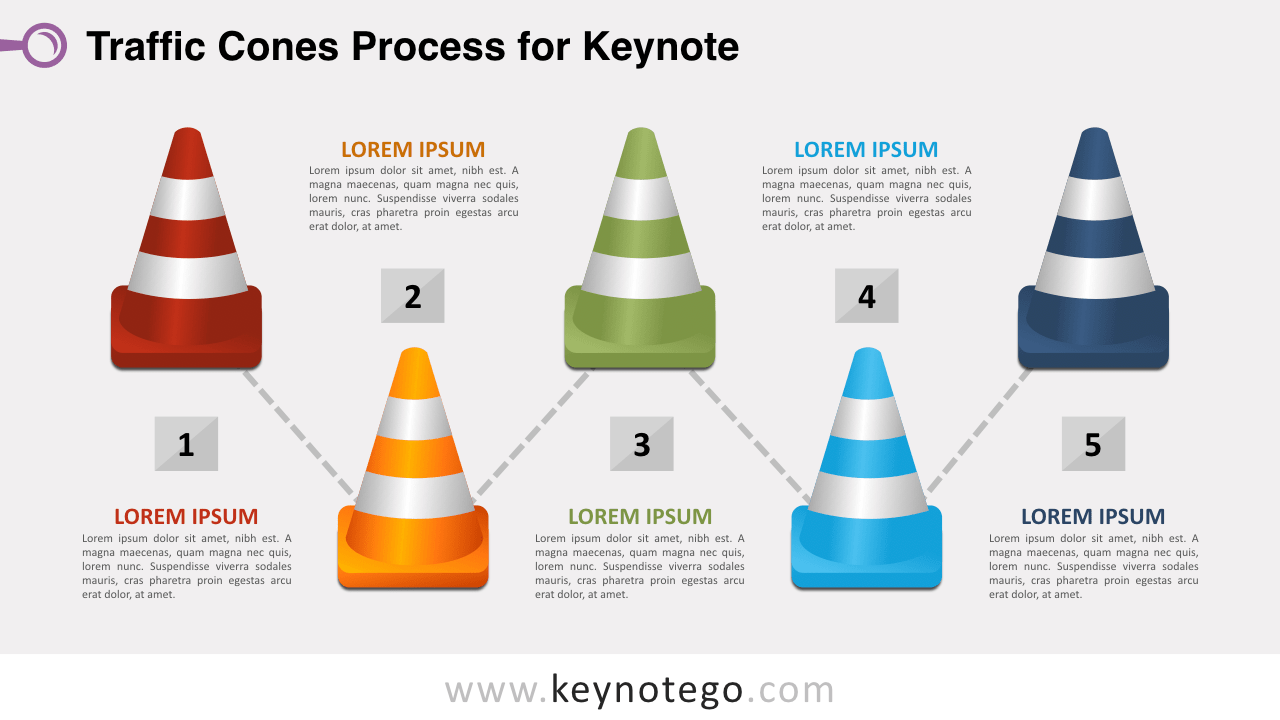 Traffic Cones Process Diagram Keynote Template
