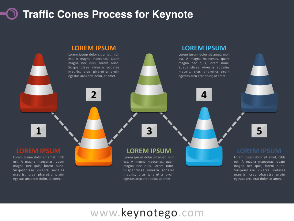 Traffic Cones Process for Keynote - Dark Background