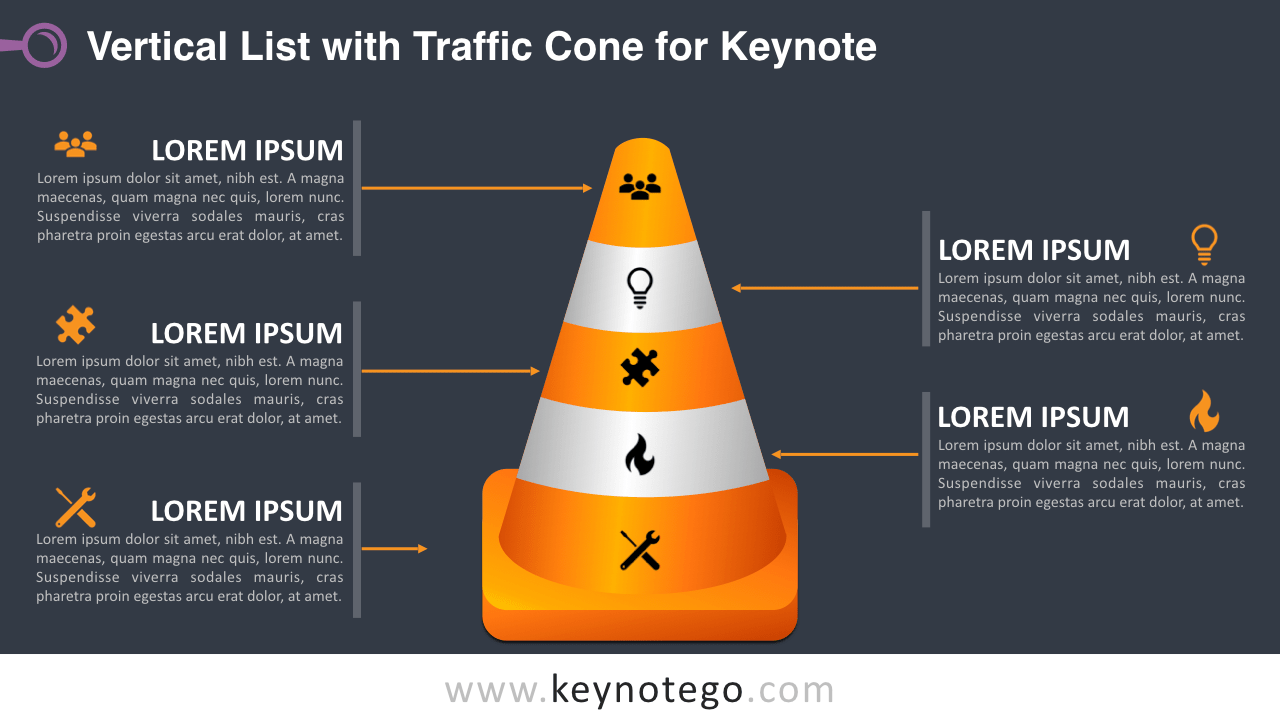 Vertical List Traffic Cone Keynote Template - Dark Background