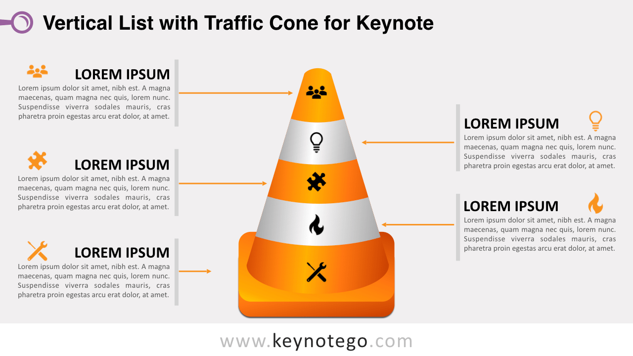 Vertical List Traffic Cone Template Keynote Template
