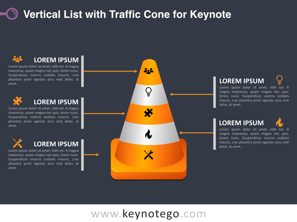 Vertical List Traffic Cone for Keynote - Dark Background