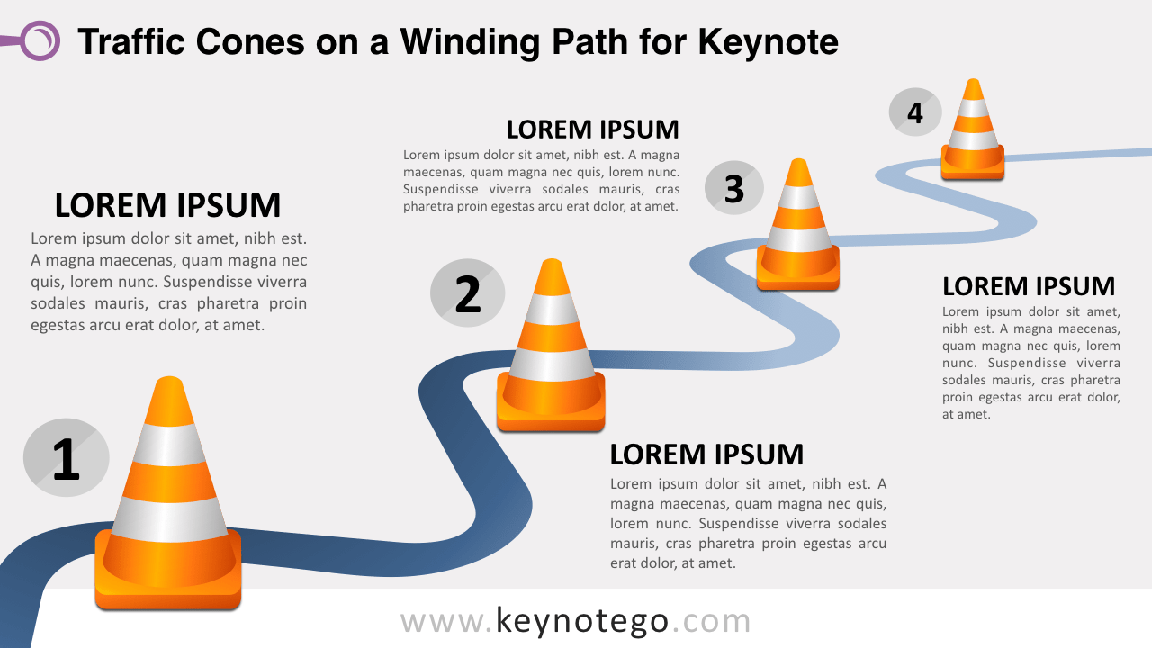 Winding Road Traffic Cones Keynote Template