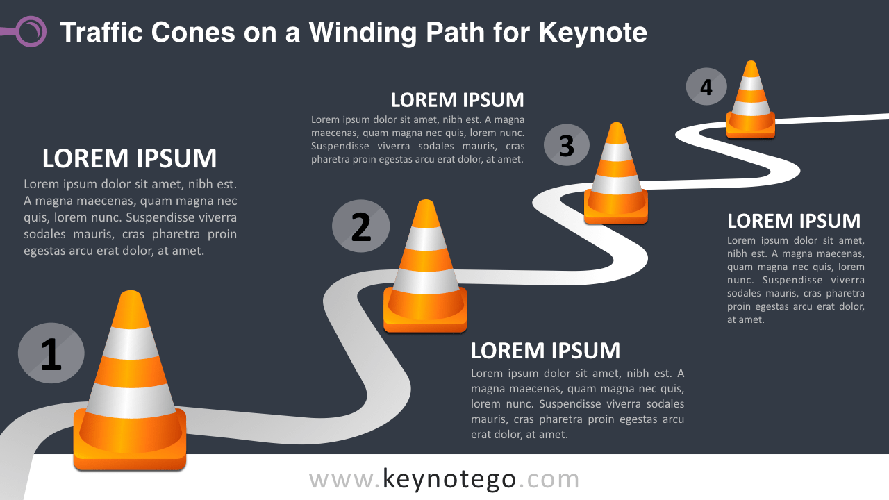 Winding Road Traffic Cones Keynote Template - Dark Background