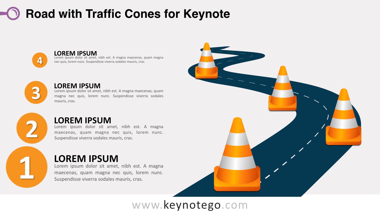 Winding Road Traffic Cones Keynote Template