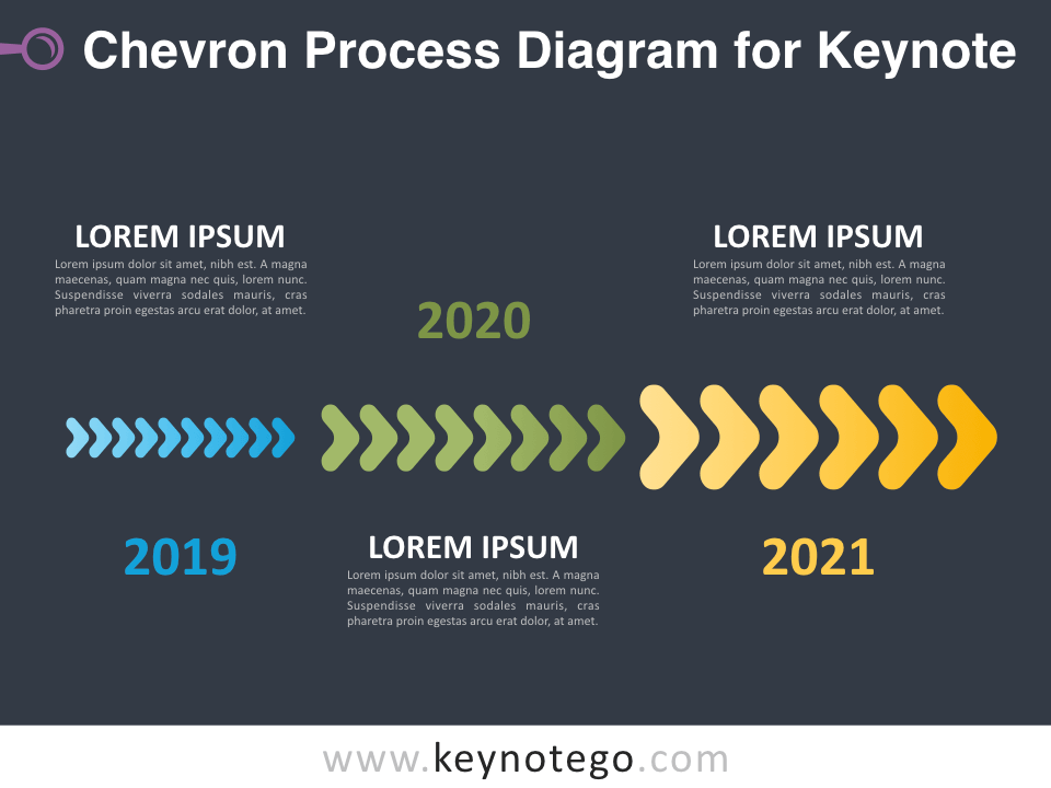 Chevron Process Diagram for Keynote - Dark Background