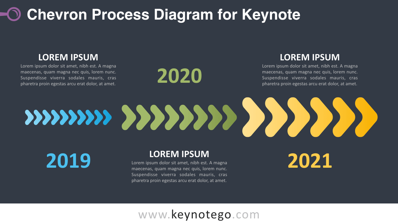 Chevron Process Keynote Template - Dark Background