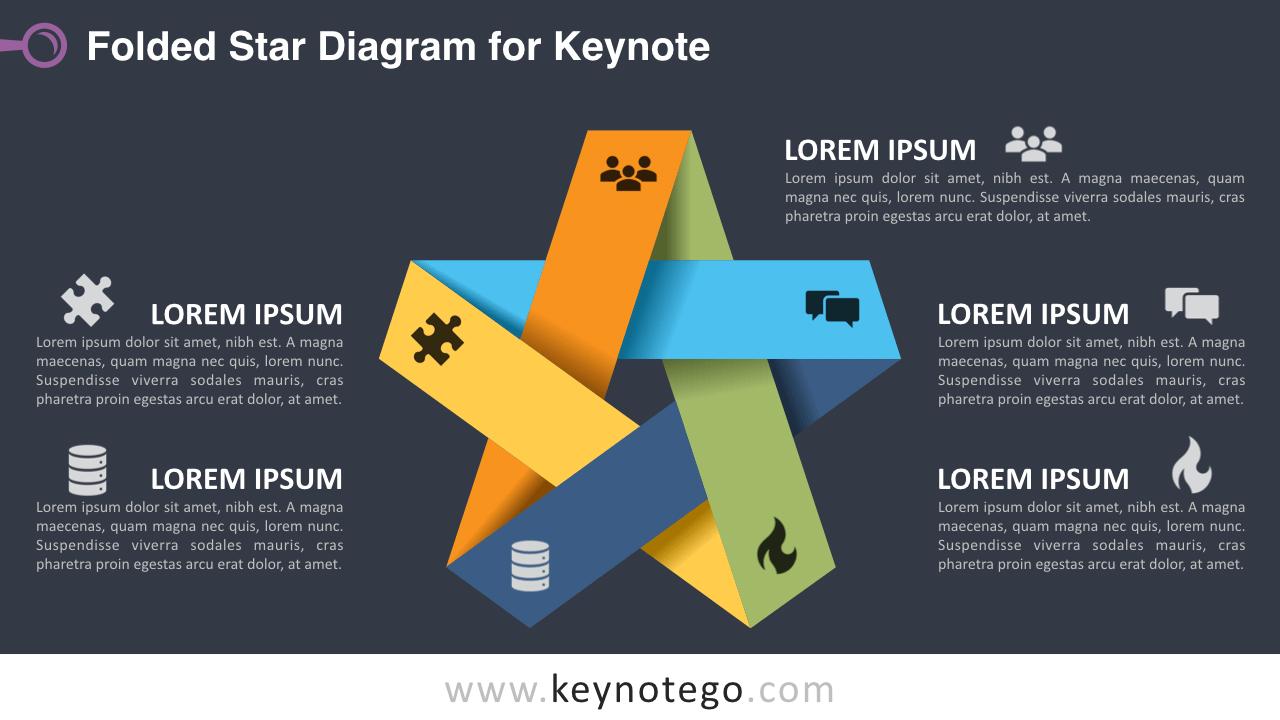Folded Star Keynote Template - Dark Background