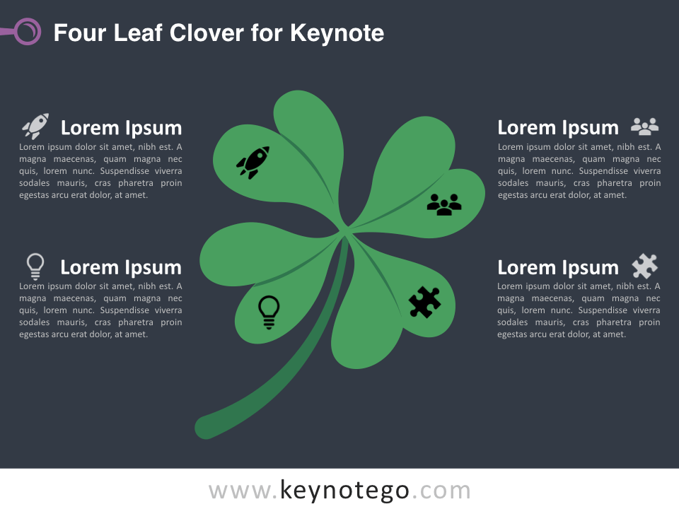 Four Leaf Clover for Keynote - Dark Background