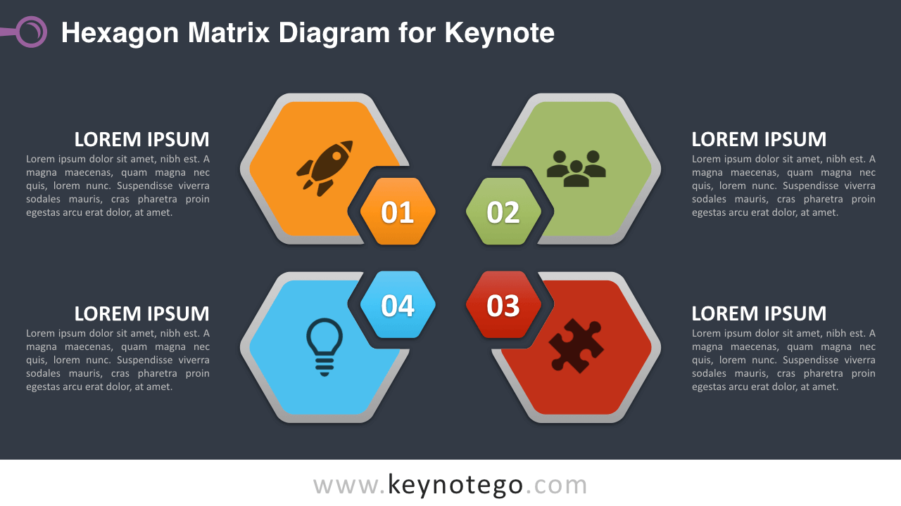 Hexagon Matrix Keynote Template - Dark Background