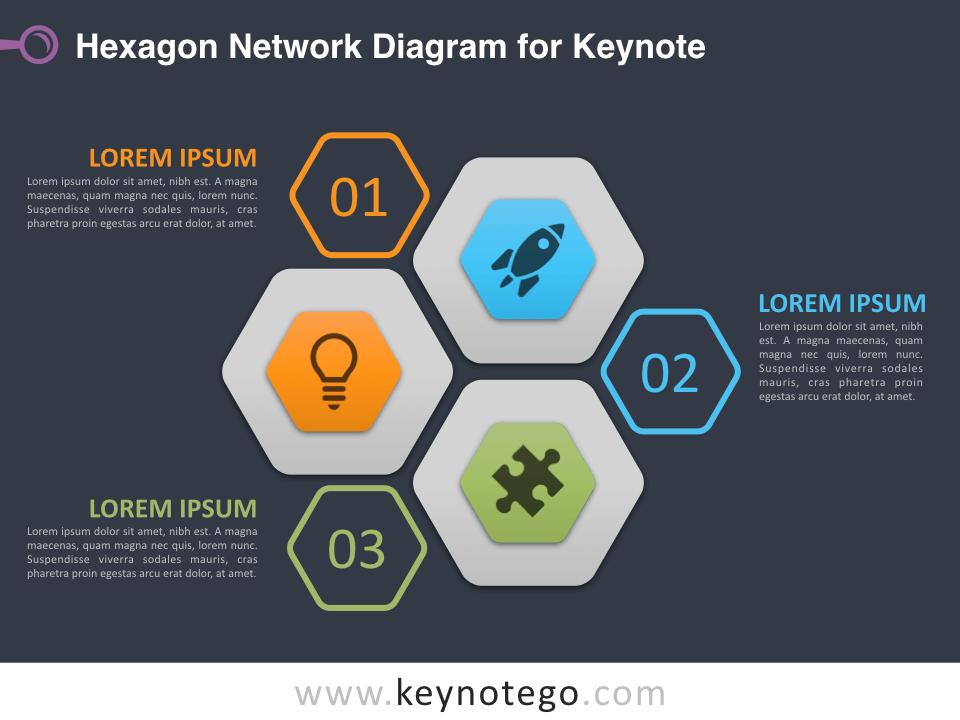 Hexagon Network Diagram for Keynote - Dark Background