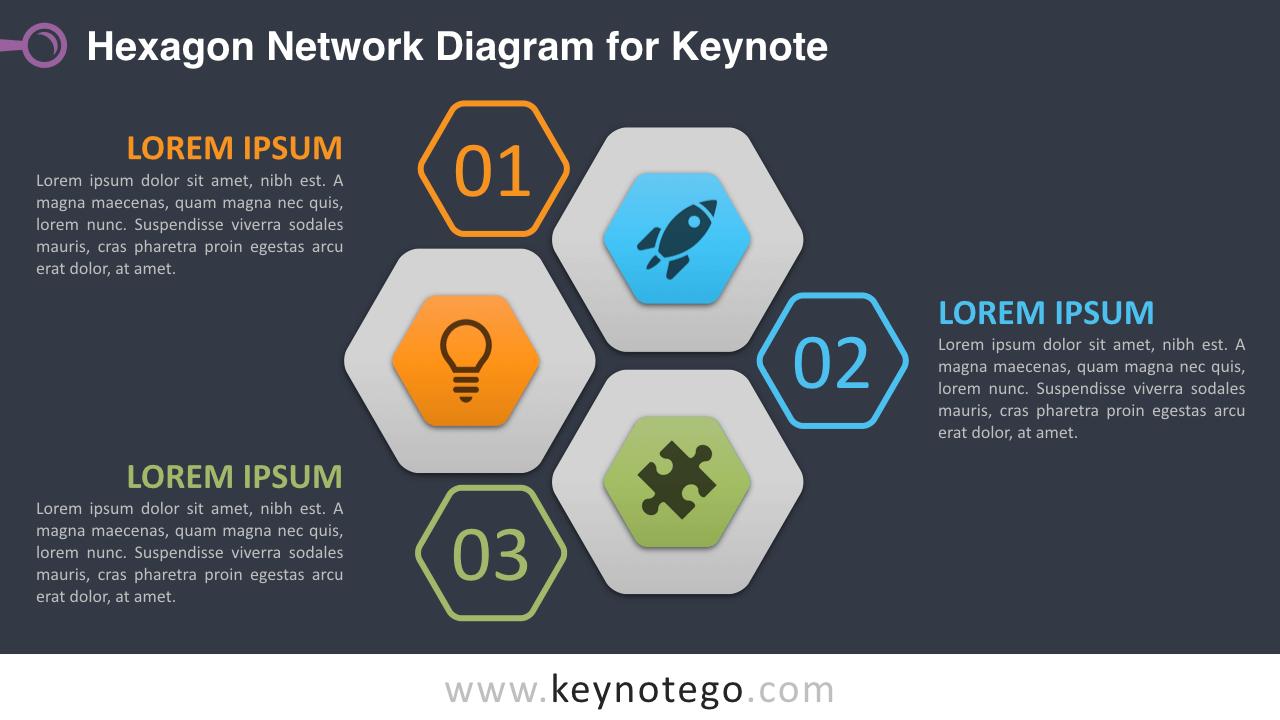 Hexagon Network Keynote Template - Dark Background