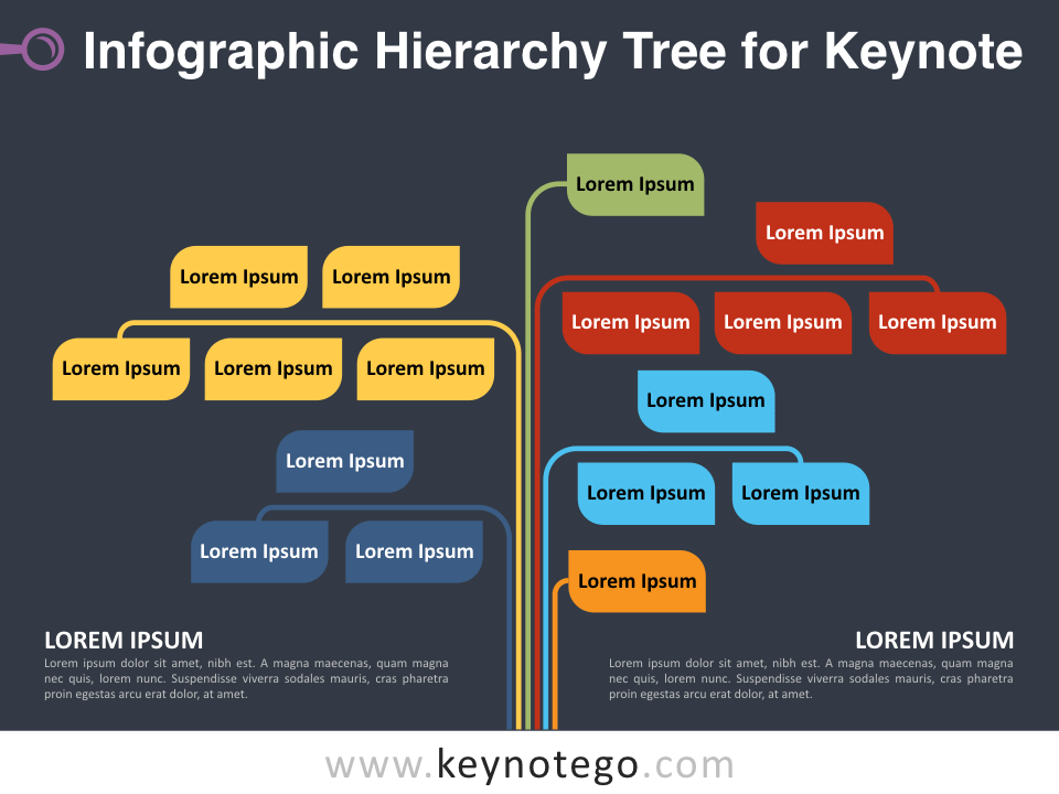 Infographic Hierarchy Tree for Keynote - Dark Background