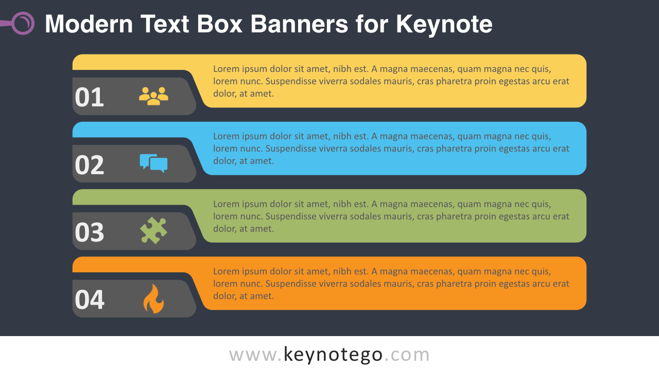Modern Horizontal Text Boxes Keynote Template - Dark Background