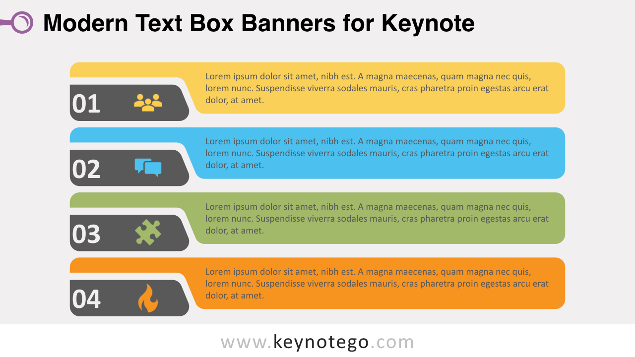 Modern Horizontal Text Boxes Keynote Template