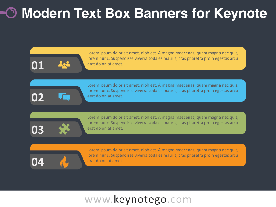 Modern Text Boxes for Keynote - Dark Background